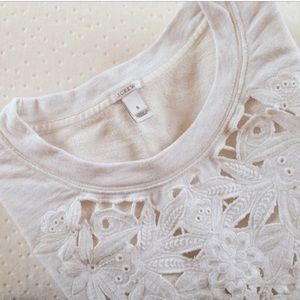 J. Crew White Sweatshirt W/ Lace Flower Front